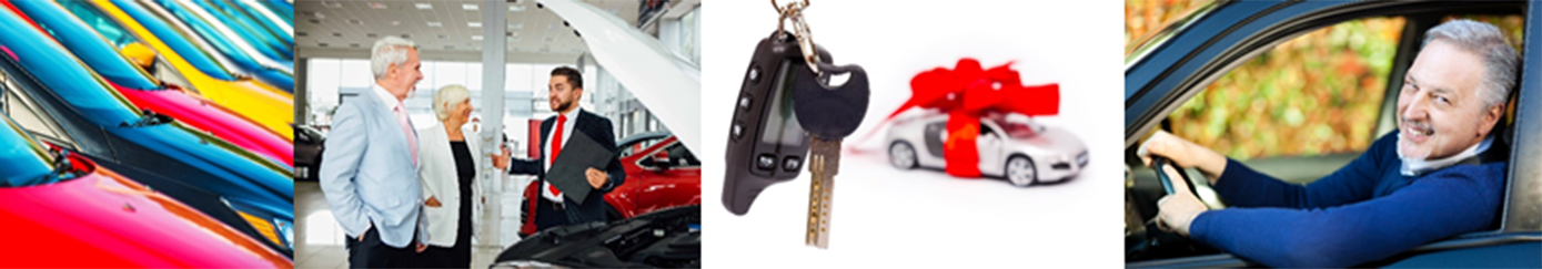 Series of cars lined up in the colors of red, black and yellow. The second image represents a car sales man assisting a couple pick out the right fit and then transition over to the car wrapped in a bow with a set of keys dangling in front of the camera. Lastly, the gentleman is driving away in his new car with his window down and a big smile.